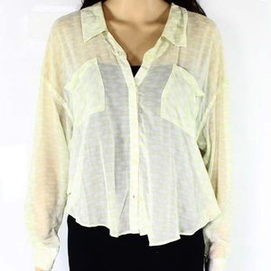 Free People Yellow and White Sheer Button Down Top
